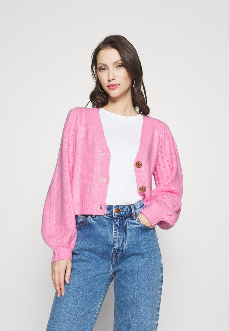 Miss Selfridge - PRETTY STITCH DETAIL SLEEVE CROP CARDIGAN - Cardigan - mid pink