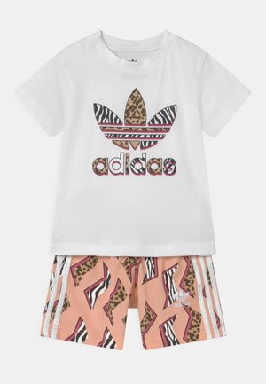 SHORT SET UNISEX - Camiseta estampada - white/multicolor/glow pink