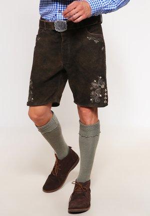 CORBI - Kožené kalhoty - bison