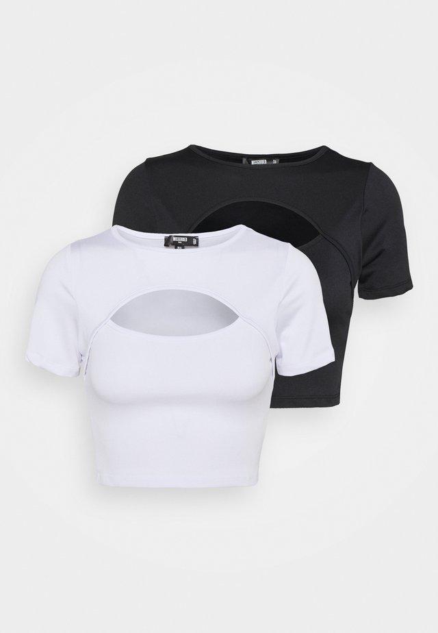 CUT OUT CAP SLEEVE CROP 2 PACK - T-shirt imprimé - black/white