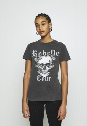 SKULL BUTTERFLY WASH TEE - Print T-shirt - dark grey
