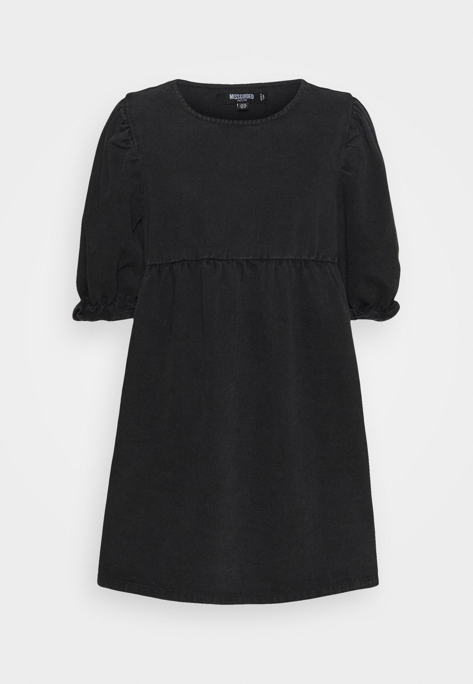 Women TRAPEZE MINI DRESS WITH BALLOON SLEEVES - Denim dress