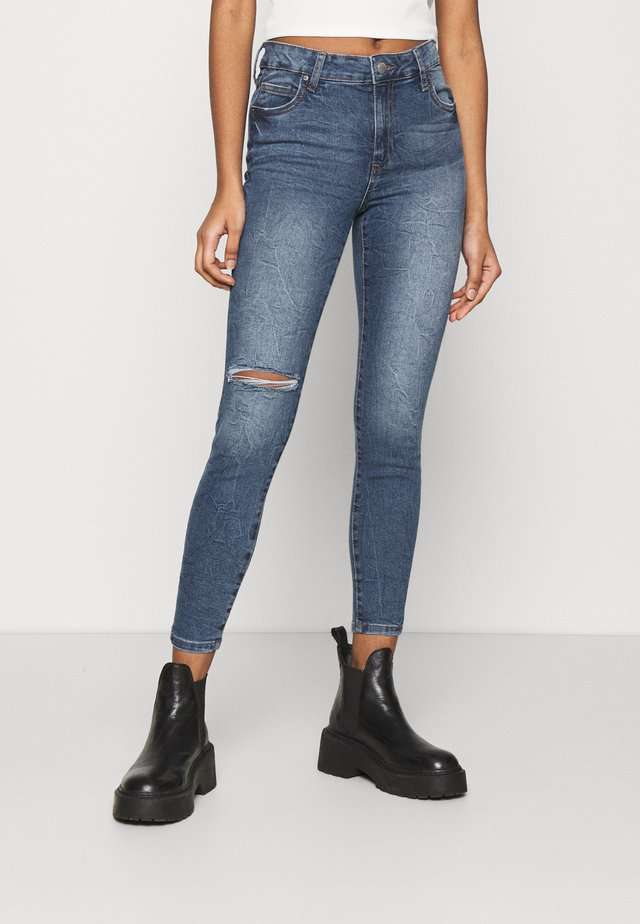 MID RISE CROPPED - Jeans Skinny Fit - surfers blue