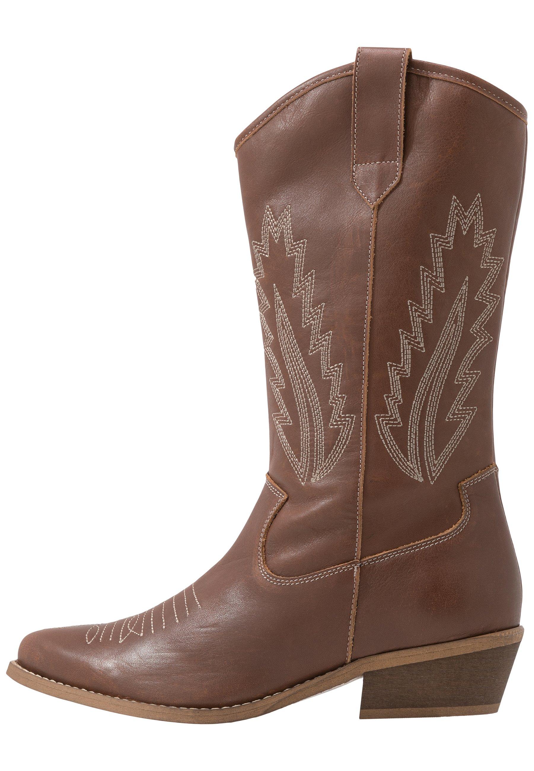 INSTA FEATHER Cowboy Bikerlaarzen cognac brown