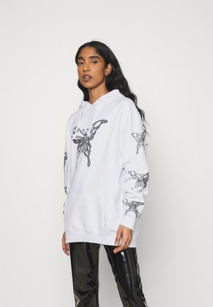 METALLIC BUTTERFLY HOODIE - Mikina s kapucí - white