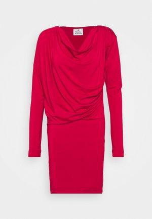 NEW DRAPE - Denim dress - red