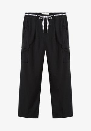 SHOE LACE - Cargo trousers - black