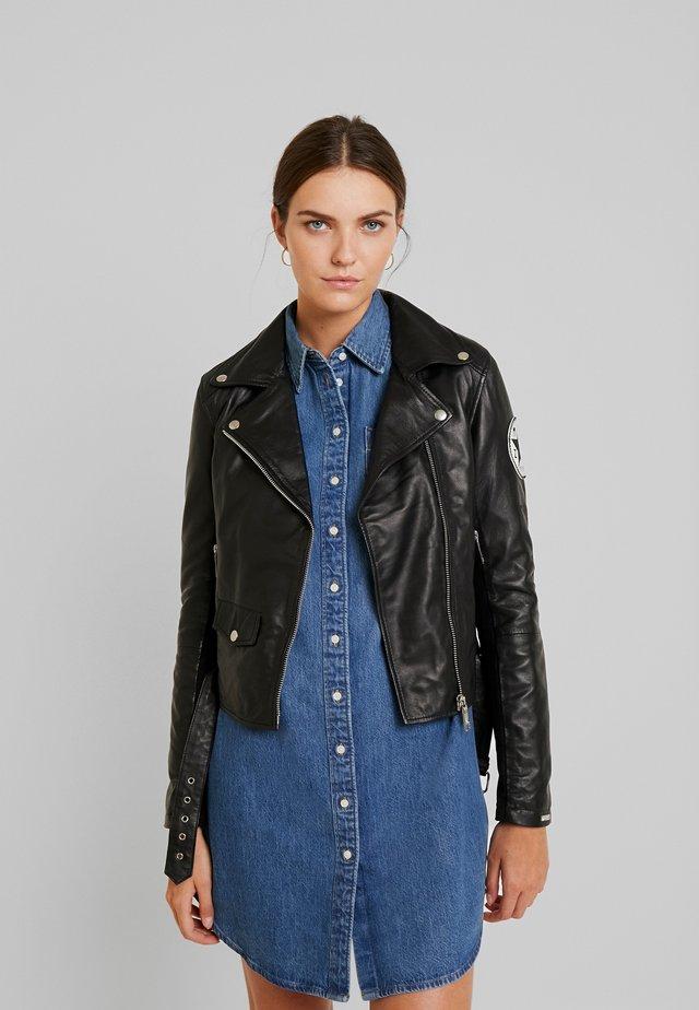 SYPRESS - Leather jacket - black/white