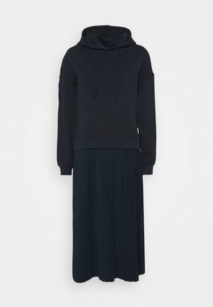 LONGSLEEVE HOODED PLISSÉE SKIRT - Maxi dress - scandinavian blue