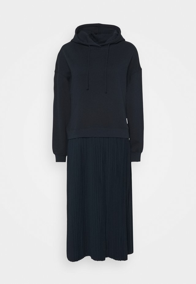LONGSLEEVE HOODED PLISSÉE SKIRT - Vestito lungo - scandinavian blue