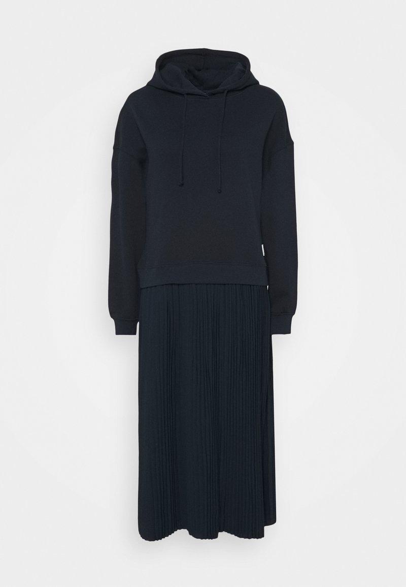 Marc O'Polo DENIM - LONGSLEEVE HOODED PLISSÉE SKIRT - Maxi dress - scandinavian blue