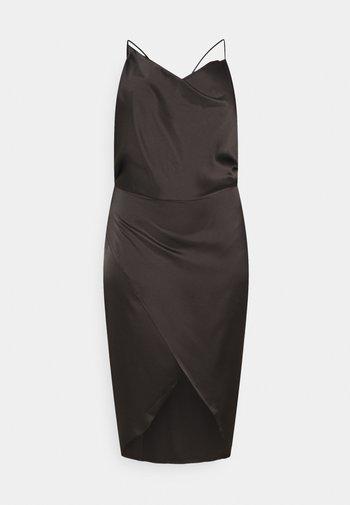 ASYM STRAP DRAPE MIDI DRESS - Cocktail dress / Party dress - black