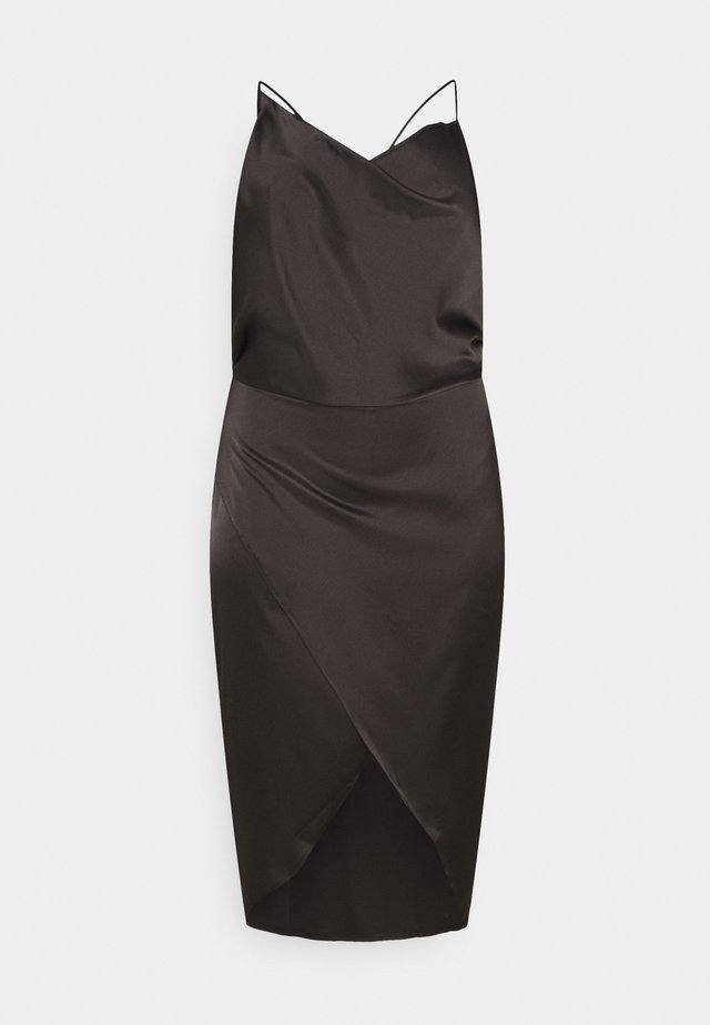 ASYM STRAP DRAPE MIDI DRESS - Cocktail dress / Party dress - black