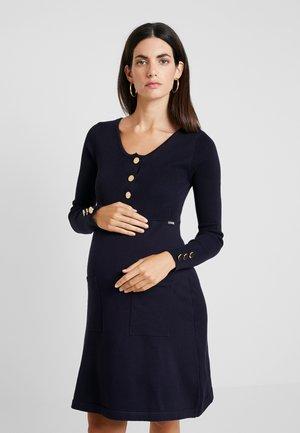 NURSING FLAT DRESS WITH BUTTONS - Pletené šaty - navy