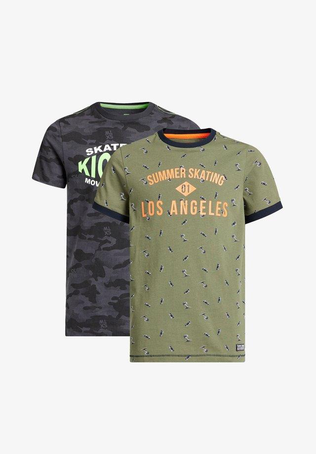 2-PACK - T-shirt imprimé - khaki/grey