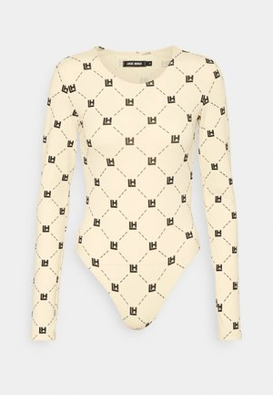 MONOGRAM BODYSUIT - Long sleeved top - beige/black