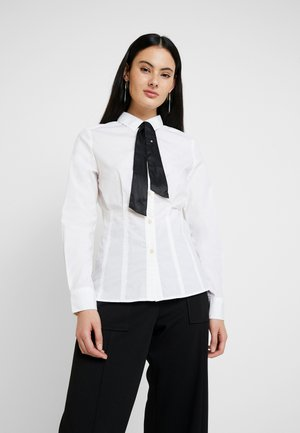SYENITE SLIM BOW SHIRT WMN L\S - Button-down blouse - white