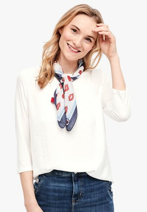 MATERIALMIX-SHIRT MIT SATIN-FRONT - Blouse - cream