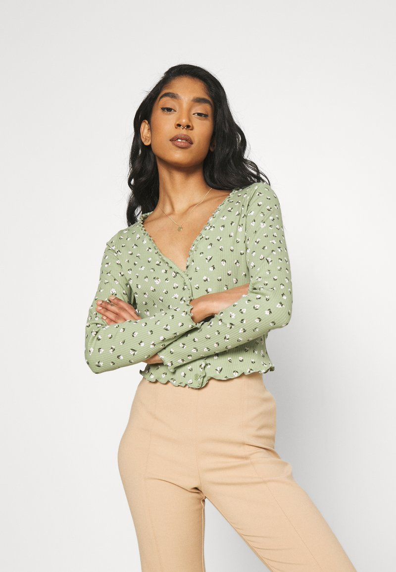 Monki - SANCY - Strikjakke /Cardigans - light green
