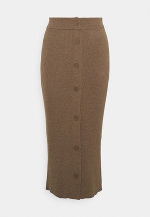 DETAIL RIBBED MIDI SKIRT - Pencil skirt - brown