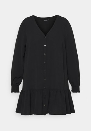 BLACK SHEERED CUFF BUTTON  - Blouse - black