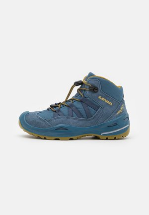 ROBIN GTX UNISEX - Hiking shoes - stahlblau/senf