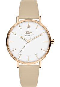 s.Oliver - S.OLIVER DAMEN-UHREN ANALOG QUARZ - Watch - beige - 0