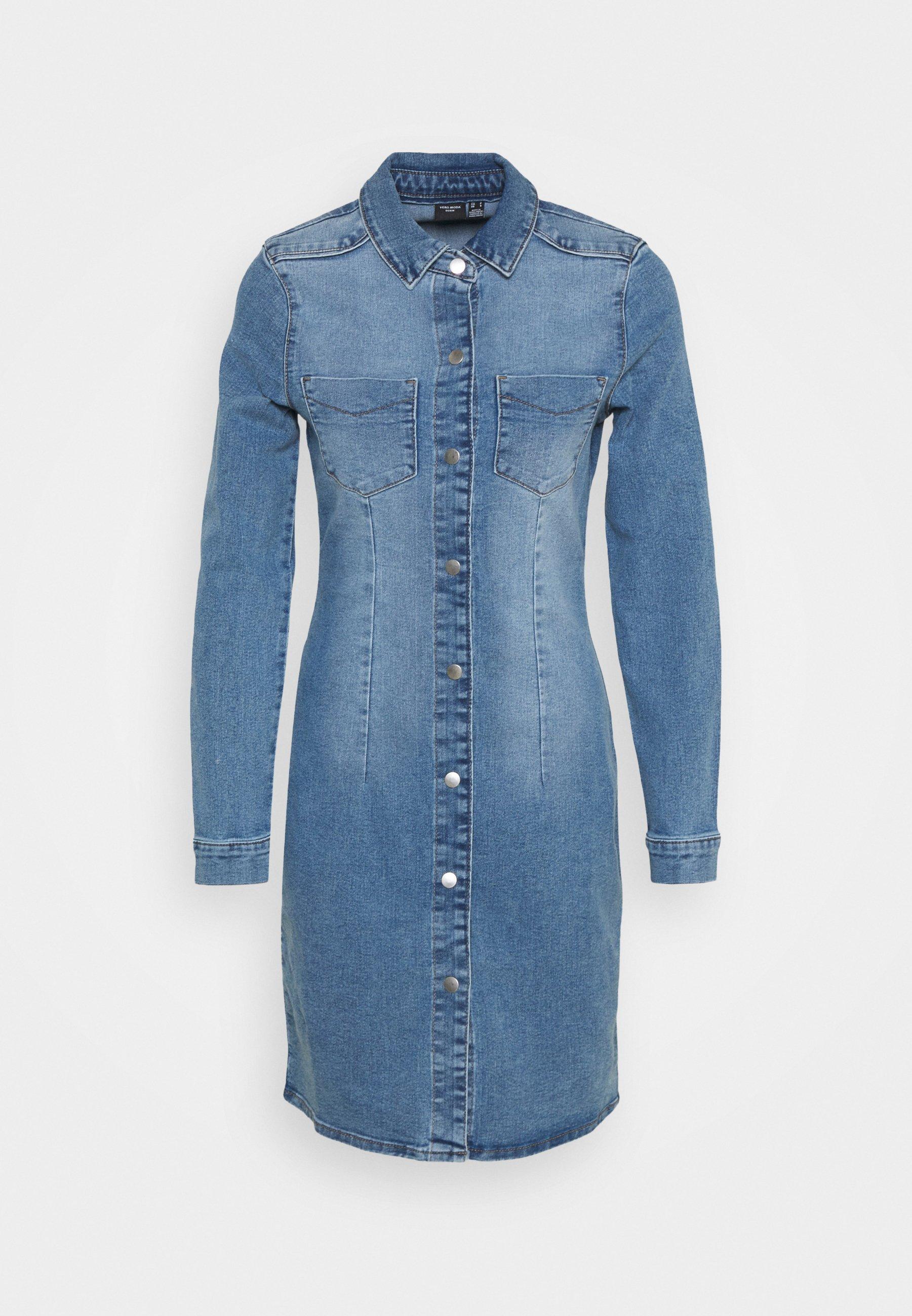 Women VMGRACE SLIM BUTTON - Denim dress