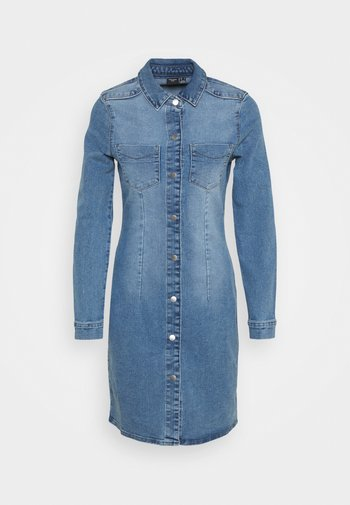 VMGRACE SLIM BUTTON - Denim dress - light blue denim