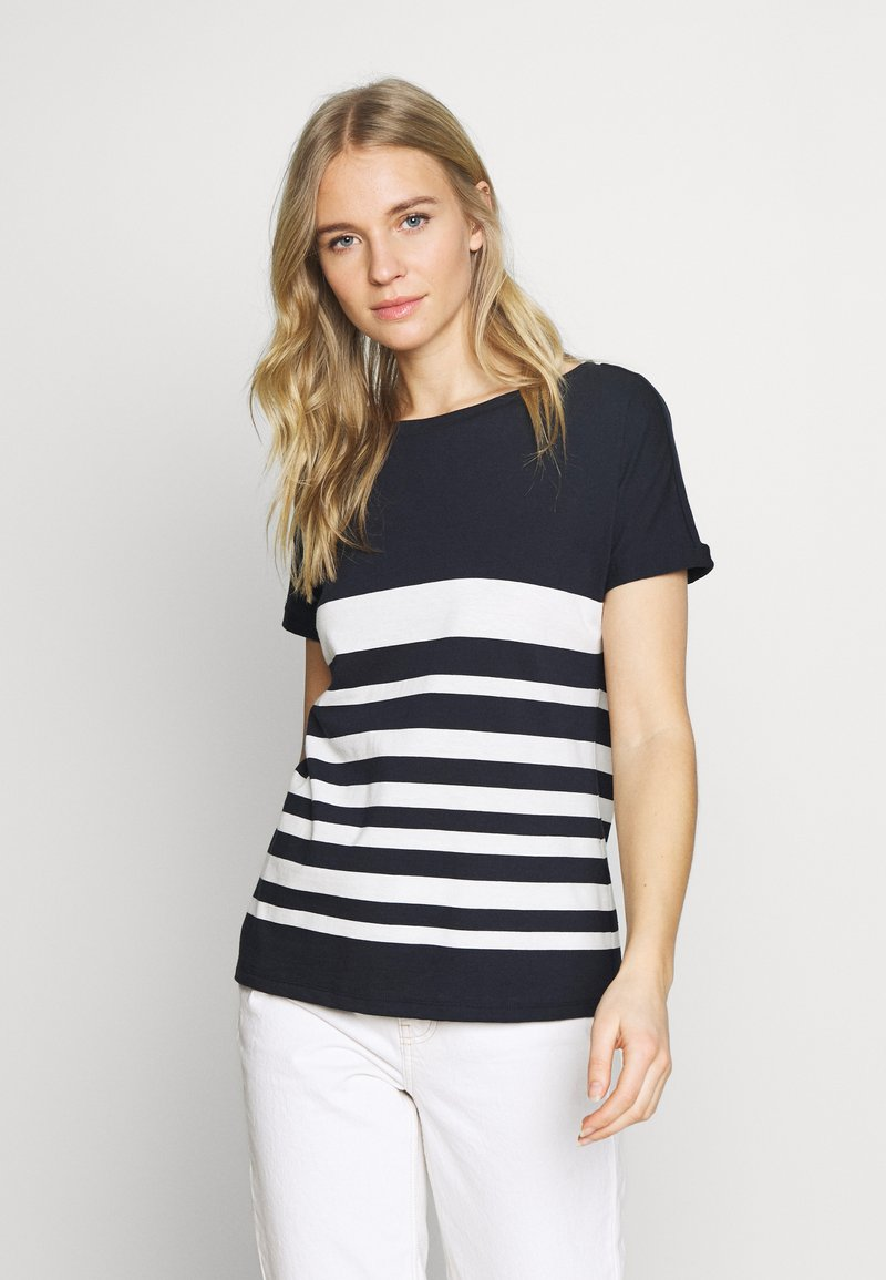 comma casual identity - KURZARM - Print T-shirt - blue