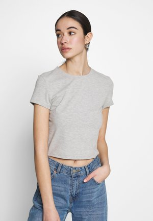 PERFECT CROPPED TEE - Basic T-shirt - grey mélange