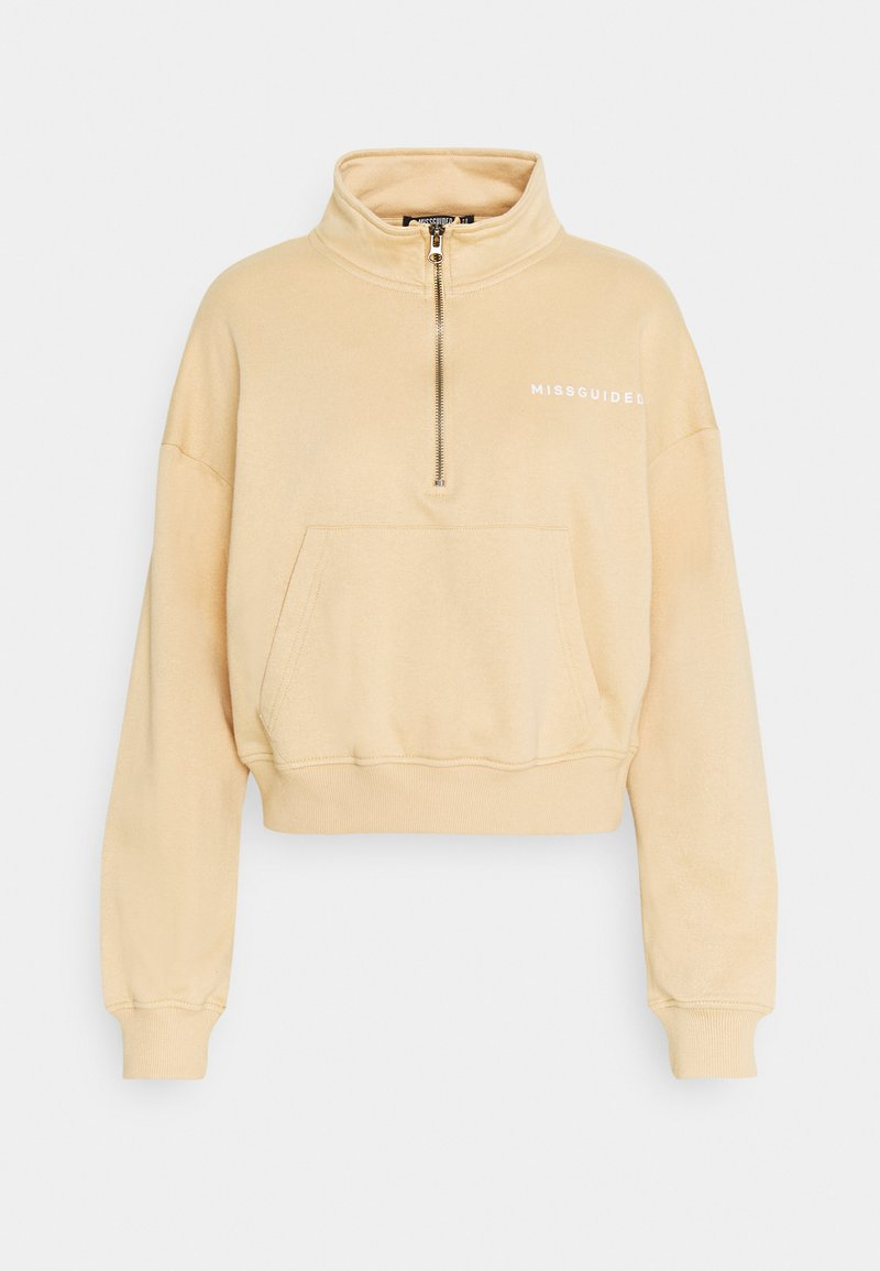 Missguided Petite - HALF ZIP  - Sweatshirt - beige