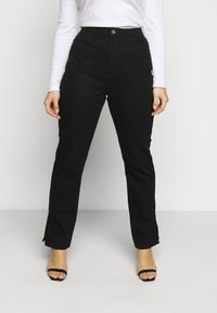Missguided Plus - WRATH HIGHWASITED SPLIT  - Jeans straight leg - black - 0