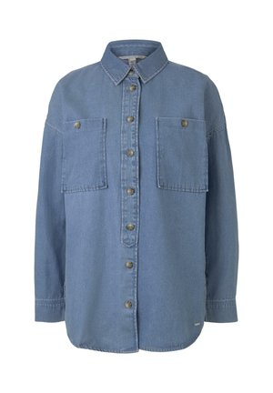 TOM TAILOR DENIM BLUSEN & SHIRTS OVERSIZE JEANSHEMD - Button-down blouse - mid stone blue denim