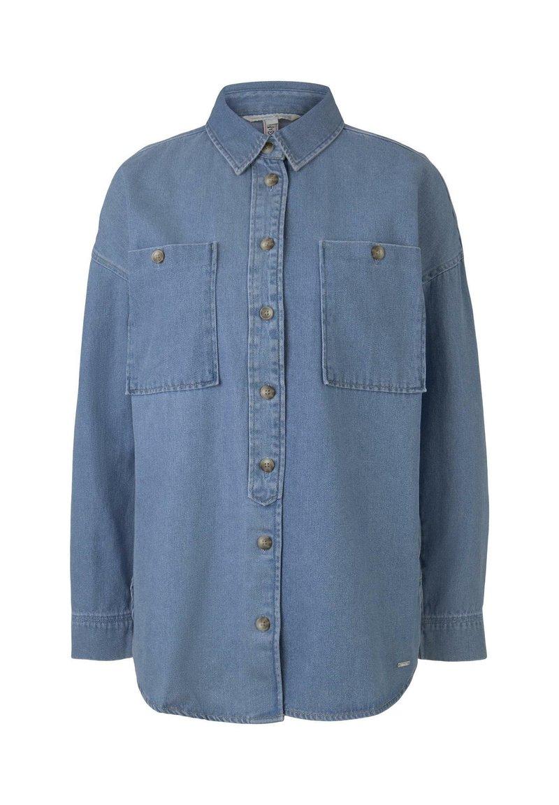 TOM TAILOR DENIM - TOM TAILOR DENIM BLUSEN & SHIRTS OVERSIZE JEANSHEMD - Button-down blouse - mid stone blue denim