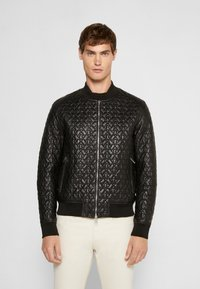 Emporio Armani - BLOUSON - Leather jacket - black - 0