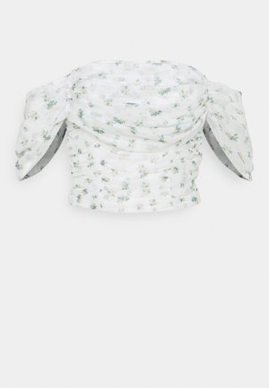 RUCHED BARDOT CROP - Print T-shirt - white