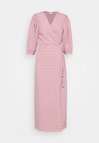 Vila - VIDOLETTA WRAP CHECK DRESS - Maxi dress - dusty cedar/white - 0