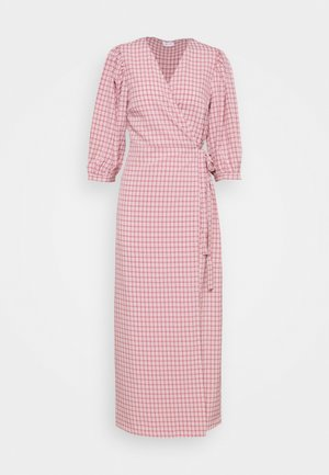 VIDOLETTA WRAP CHECK DRESS - Długa sukienka - dusty cedar/white