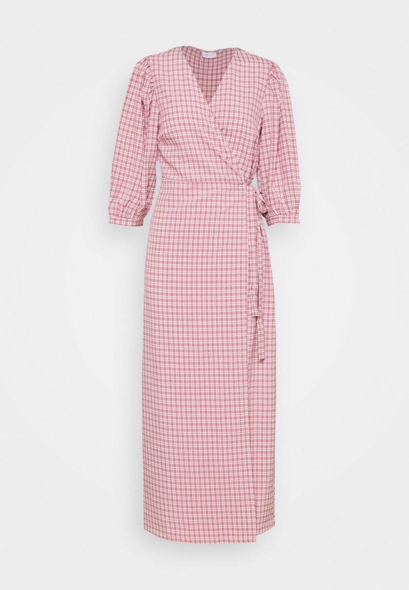 Vila - VIDOLETTA WRAP CHECK DRESS - Maxi dress - dusty cedar/white