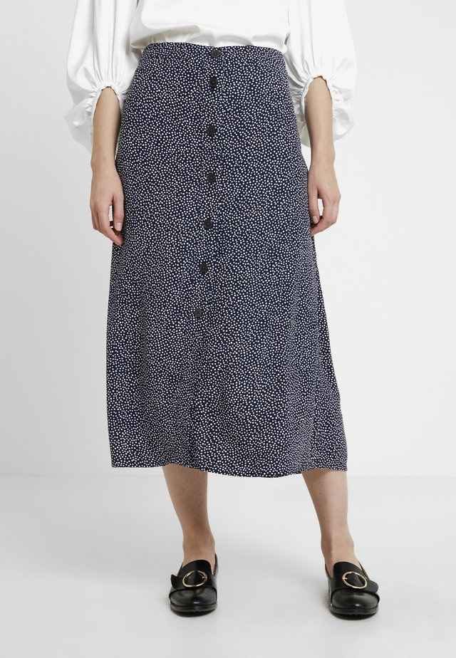 BUTTON THRU MIDI SKIRT - A-line skirt - ivory/navy