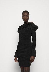 Hervé Léger - PUCKERED STITCH RUFFLE MINI DRESS - Cocktail dress / Party dress - black - 0