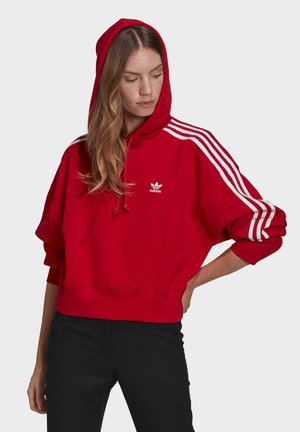 SHORT HOODIE - Bluza z kapturem - scarlet