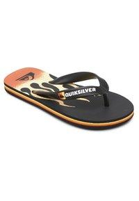 Quiksilver - MOLOKAI FLAME - T-bar sandals - black/black/yellow - 2