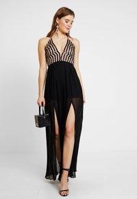 Rare London - SEQUIN PLUNGE DOUBLE SPLIT DRESS - Occasion wear - black - 2