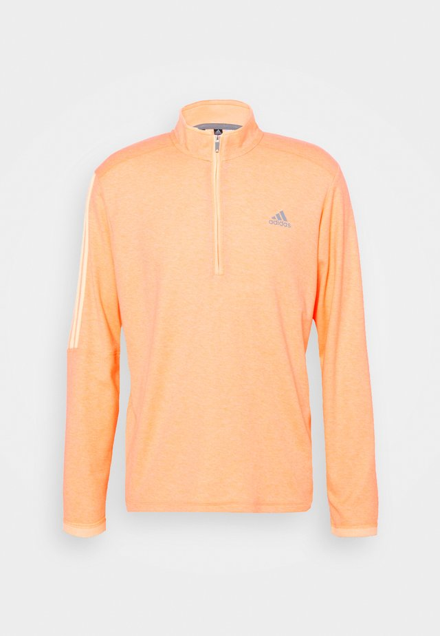 THREE STRIPE ZIP LEFT CHEST - Sweater - acid orange melange