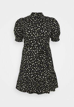DAISY PUFF SLEEVE SHIRT DRESS - Blousejurk - black