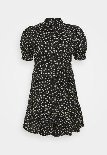 DAISY PUFF SLEEVE SHIRT DRESS - Skjortekjole - black