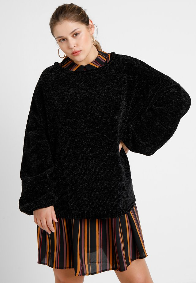 LADIES OVERSIZE CHENILLE - Sweter - black