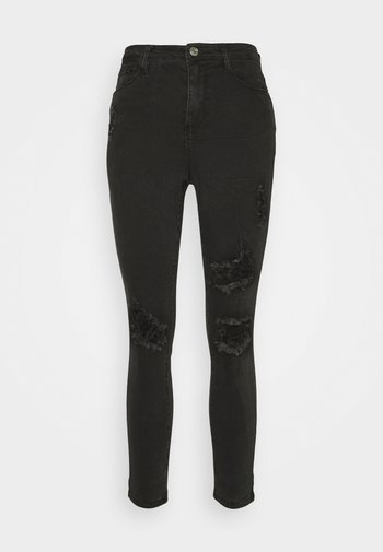 SINNER HIGHWAISTED AUTHENTIC RIPPED - Vaqueros pitillo - black